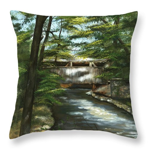 Covered Bridge Throw Pillow featuring the painting A Summer Walk Along The Creek by Nancy Patterson
