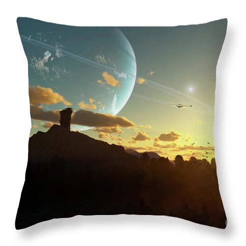 Artwork Throw Pillow featuring the digital art A Sunset On A Forested Moon Which by Brian Christensen