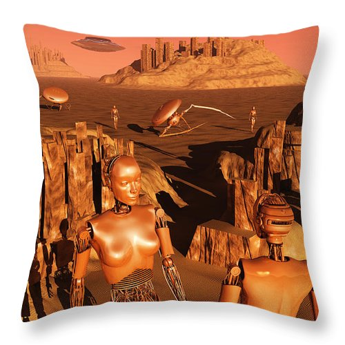 Horizontal Throw Pillow featuring the digital art A Team Of Robots Gather The Last by Mark Stevenson