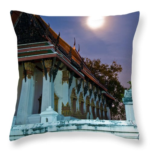 Ancient Throw Pillow featuring the photograph A Tempel In A Wat During A Full Moon Night by U Schade