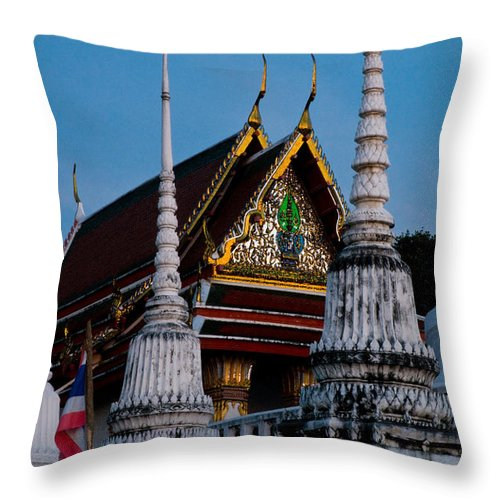 Ancient Throw Pillow featuring the photograph A Temple In A Wat Monestry In Tahiland by U Schade