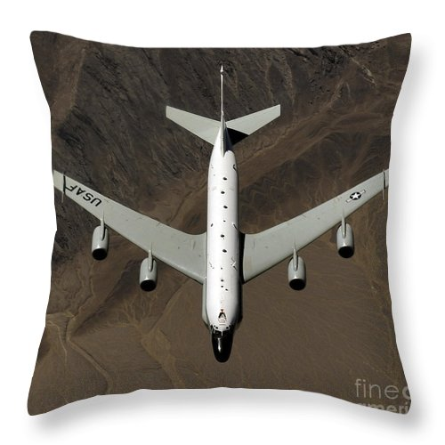 Kyrgzstan Throw Pillow featuring the photograph A U.s. Air Force Rc-135 Rivet Joint by Stocktrek Images