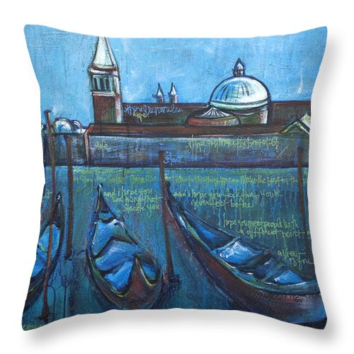 Venice Throw Pillow featuring the painting A View Of You by Laurie Maves ART