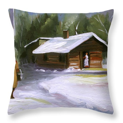 Log Cabin Throw Pillow featuring the painting A Warm Cabin by Nancy Griswold