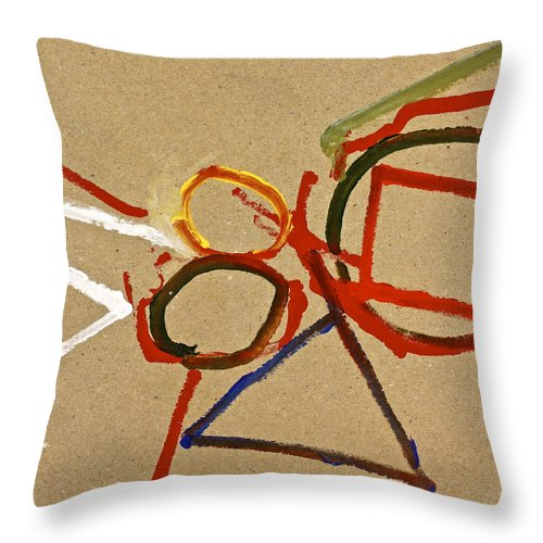Abstract Paintings Throw Pillow featuring the painting A Wedgie In Balance Or Not- Lesson 2 by Cliff Spohn