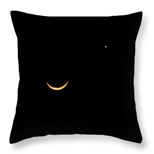 Crescent Moon Throw Pillow featuring the photograph A Wink And A Smile by DigiArt Diaries by Vicky B Fuller