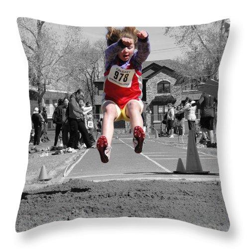 Al Bourassa Throw Pillow featuring the photograph A Winning Jump by Al Bourassa