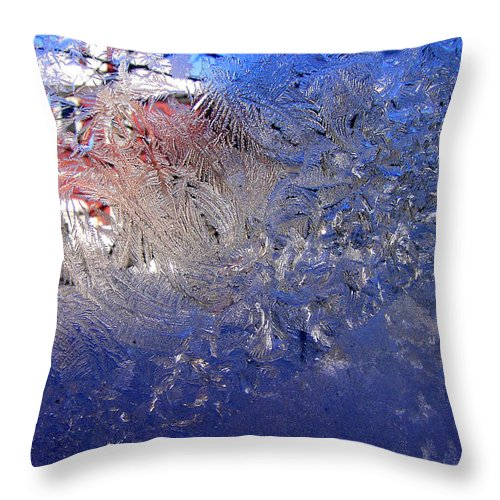 Ice Throw Pillow featuring the photograph A Wintry Icy Window by Mike Nellums