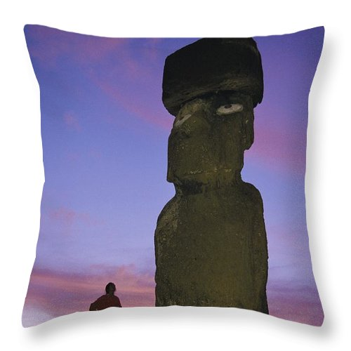 Color Image Throw Pillow featuring the photograph A Woman And A Monolithic Statue by Richard Nowitz