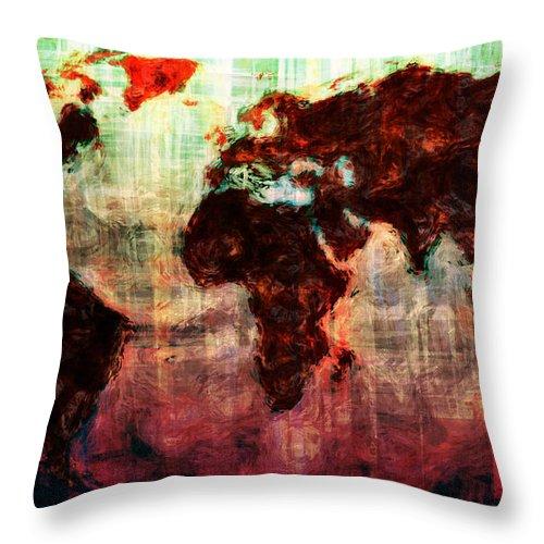 Map Throw Pillow featuring the digital art A Wonderful World by Adam Vance