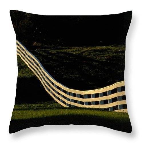 Shaker Village Of Pleasant Hill Throw Pillow featuring the photograph A Wooden Fence At The Shaker Village by Raymond Gehman