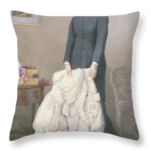 A Young Widow Throw Pillow featuring the painting A Young Widow by Edward Killingworth Johnson