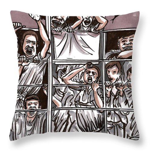 Derelict Throw Pillow featuring the drawing Abandoned Building Playground In The Bronx Nyc by Al Goldfarb
