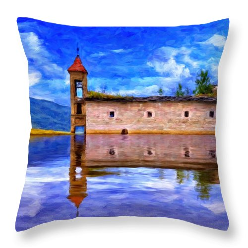 Abandoned Church Throw Pillow featuring the painting Abandoned Church In Macedonia by Dominic Piperata