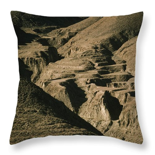 Color Image Throw Pillow featuring the photograph Abandoned Terraced Fields On Arid Hills by Gordon Wiltsie