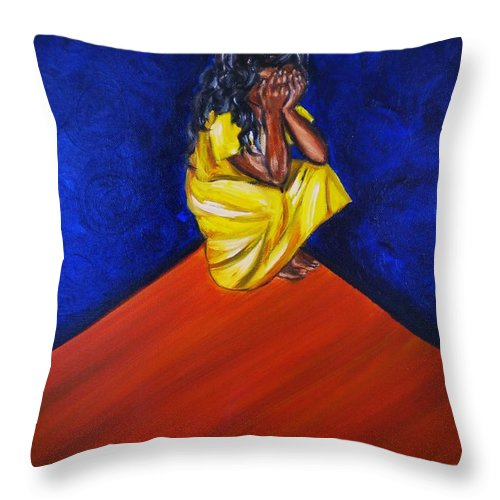 Fears Throw Pillow featuring the painting Abandono by Yesi Casanova