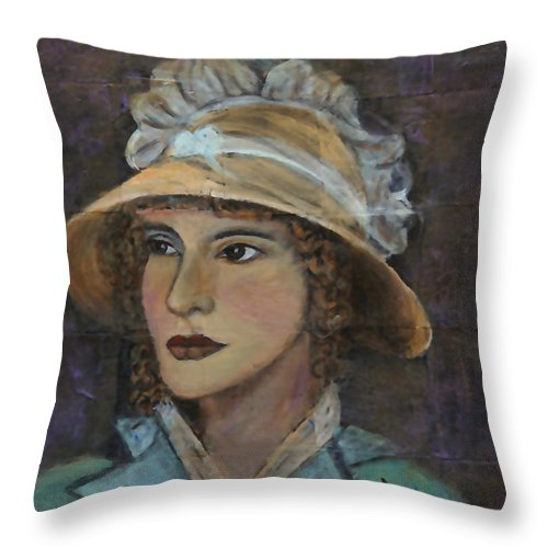 Lady In Hat Series Throw Pillow featuring the painting Abigail by The Art With A Heart By Charlotte Phillips