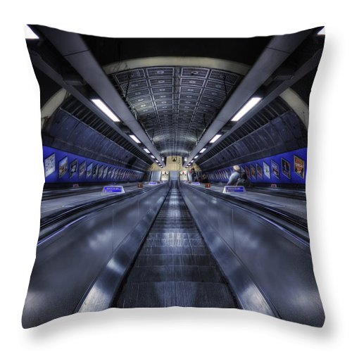 Escalator Throw Pillow featuring the photograph Above The Below by Evelina Kremsdorf
