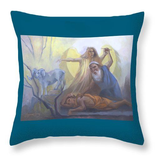 Chumash Throw Pillow featuring the painting Abraham And Issac Test Of Abraham by Suzanne Cerny