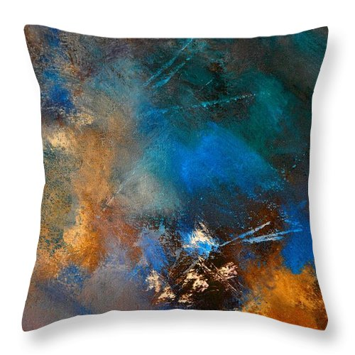Abstract Throw Pillow featuring the painting Abstract 69210151 by Pol Ledent