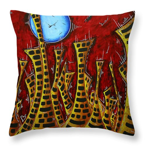 Abstract Throw Pillow featuring the painting Abstract Art Contemporary Coastal Cityscape 3 Of 3 Capturing The Heart Of The City IIi By Madart by Megan Duncanson