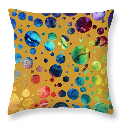 Abstract Throw Pillow featuring the painting Abstract Art Digital Pixelated Painting Image Of Beauty Of Color By Madart by Megan Duncanson
