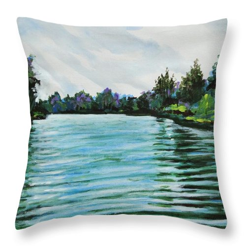 Abstract Throw Pillow featuring the painting Abstract Landscape 5 by Usha Shantharam