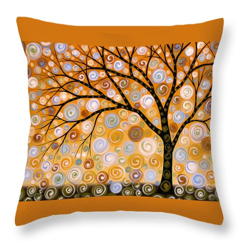 Nature Throw Pillow featuring the painting Abstract Modern Tree Landscape Dreams Of Gold By Amy Giacomelli by Amy Giacomelli