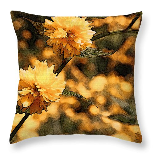 Abstract Throw Pillow featuring the photograph Abstract Of Yellow Flowers by Mick Anderson