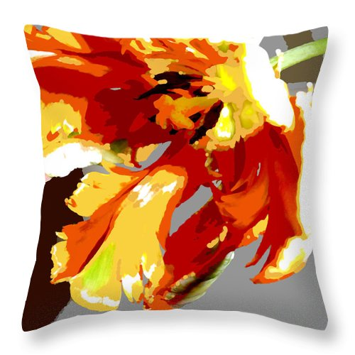 Flower Flowers Tulip Garden Flora Floral Nature Parrot+tulip Tulips Parrot+tulips Abstract Orange Red Yellow Natural Bloom Blooms Blossoms Blossom Bouquet Arrangement Colorful Plant Plants Botanical Botanic Blooming Gardens Gardening Tropical Throw Pillow featuring the painting Abstract Parrot Tulip by Elaine Plesser