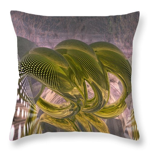Abstract Throw Pillow featuring the digital art Abstract Rings by Marisa Gabetta