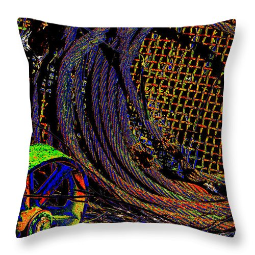 Wheel Throw Pillow featuring the photograph Abstract Textures by Phyllis Denton