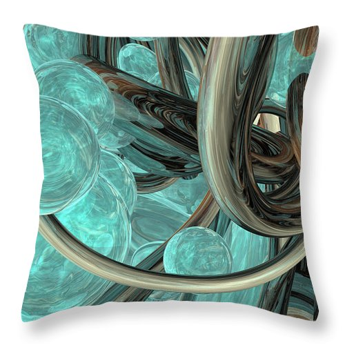 Abstract Throw Pillow featuring the digital art Abstract Water by Marisa Gabetta