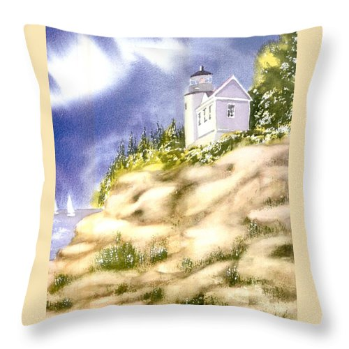 Acadia Throw Pillow featuring the painting Acadia Lighthouse by Joseph Gallant