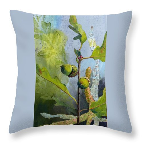 Oak Tree Leaves Throw Pillow featuring the painting Acorn Duo by Saundra Lane Galloway