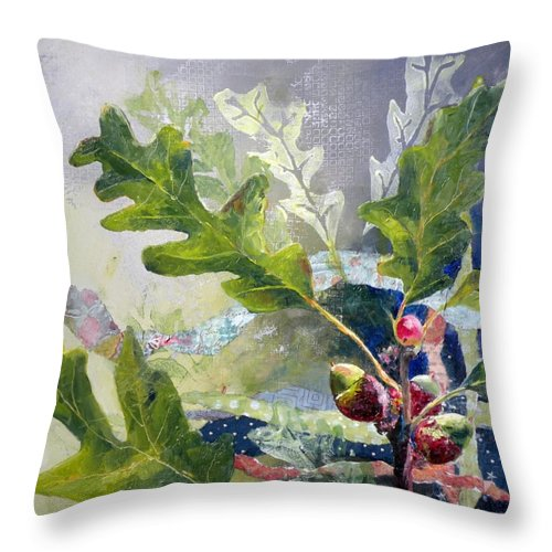 Oak Tree Paintings Throw Pillow featuring the painting Acorn Trio by Saundra Lane Galloway