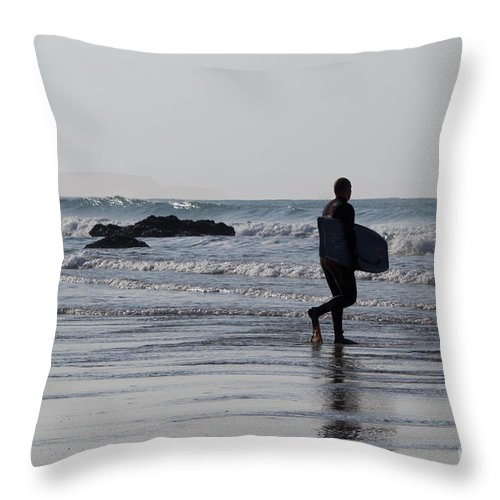 Cornish Seascape Throw Pillow featuring the photograph Acquaman by Brian Roscorla