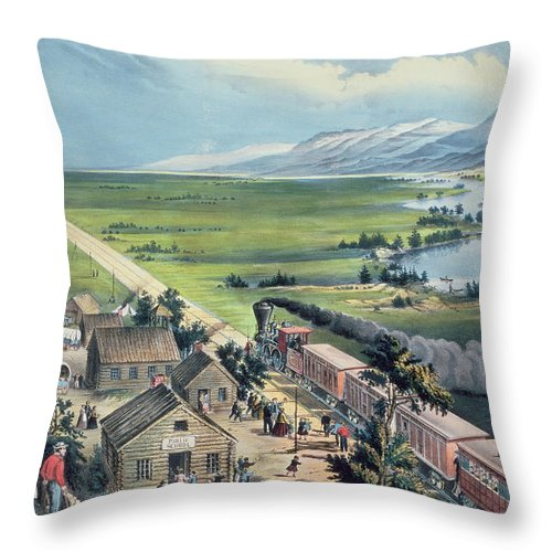 Across The Continent: 'westward The Course Of Empire Takes It's Way' Throw Pillow featuring the painting Across The Continent by Currier and Ives