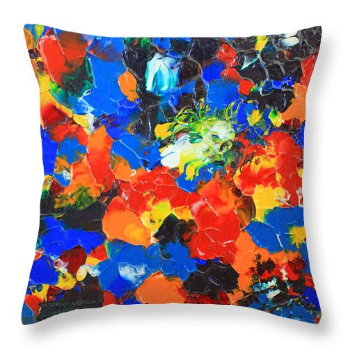 Acrylic Throw Pillow featuring the painting Acrylic Abstract Upon Wood by Carl Deaville