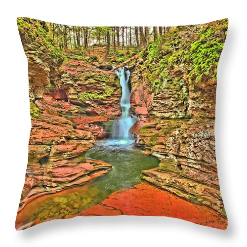 Ricketts Glen Throw Pillow featuring the photograph Adams Falls by Adam Jewell