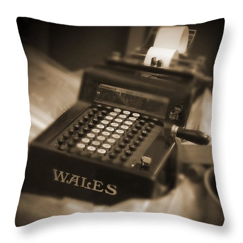 Wales Adding Machine Throw Pillow featuring the photograph Adding Machine by Mike McGlothlen