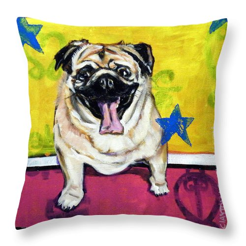 Adorable Alone Animal Beauty Begging Breed Brown Canine Close Up Companion Devoted Devotion Dog Dogs Eyes Friend Friendly Fun Fur Hair Isolated Leash Looking Loyal Loyalty Mammal Mammals Paws Pedigree Pet Pretty Pug Puppy Pure Bred Questioning Sad Standing Walk Throw Pillow featuring the painting Adopt Me by Clayton Singleton