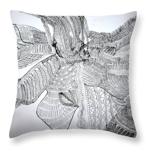 Jesus Throw Pillow featuring the drawing Adowa Dance From Ghana by Gloria Ssali