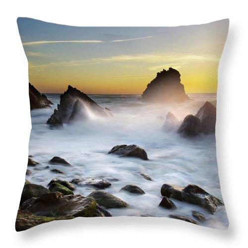 Adraga Throw Pillow featuring the photograph Adraga Beach by Carlos Caetano