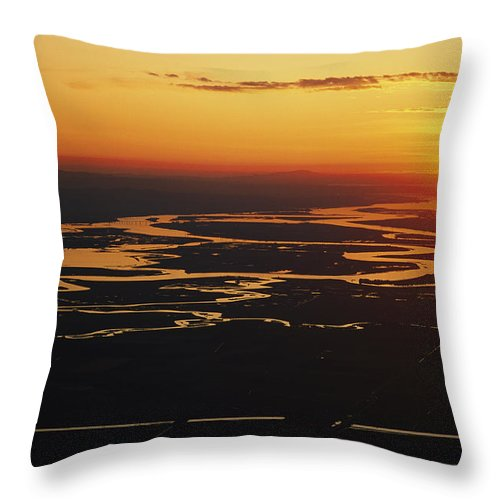 North America Throw Pillow featuring the photograph Aerial Sunset Of The Suisun Slough by Rich Reid