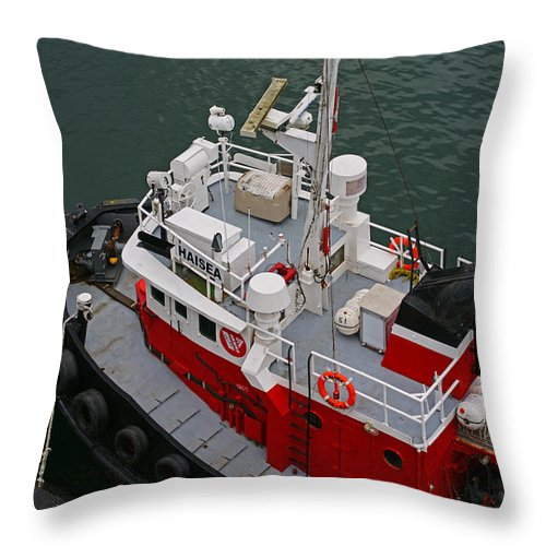 Boats Throw Pillow featuring the photograph Aerial View Of Red Tug by Randy Harris