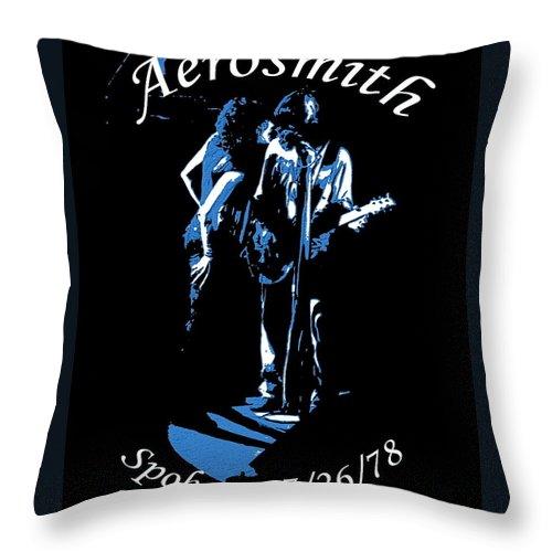 Aerosmith Throw Pillow featuring the photograph Aerosmith In Spokane 1c by Ben Upham