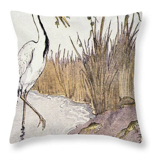 Aesop Throw Pillow featuring the photograph Aesop: Frogs Wish For King by Granger