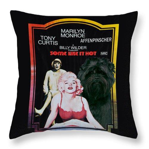 Affenpinscher Throw Pillow featuring the painting Affenpinscher Some Like It Hot Movie Poster by Sandra Sij