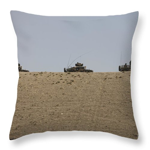 Vehicle Throw Pillow featuring the photograph Afghan Army Convoy Drives by Terry Moore